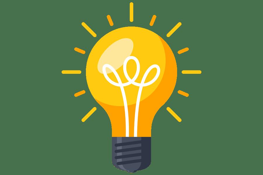 Illustration of a lightbulb turned on